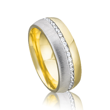 9ct Yellow and White Gold 6mm CZ Wedding Ring