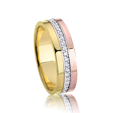 Rose and Yellow Gold 4mm Flat Shape CZ Wedding Ring