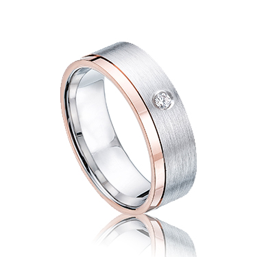 Rose and White Gold 5mm CZ 9ct Wedding Ring